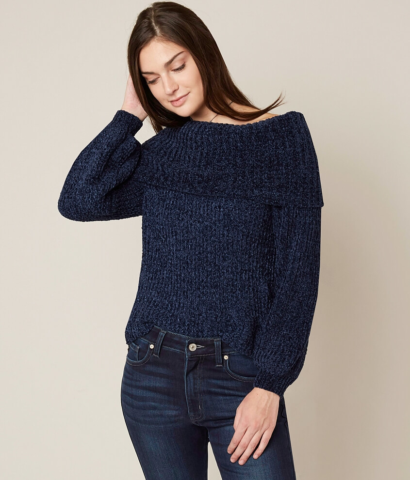 onetheland Off The Shoulder Sweater - Women's Sweaters in Navy ...