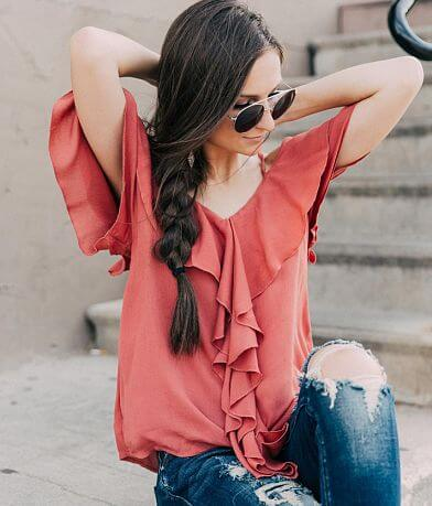onetheland Cold Shoulder Ruffle Top