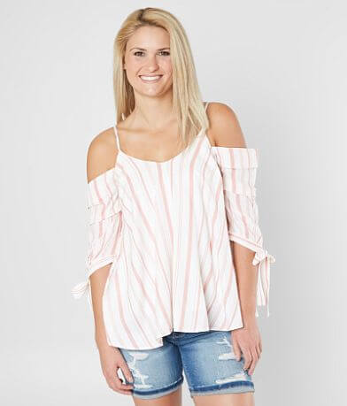 onetheland Striped Cold Shoulder Top