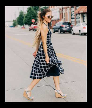 Hyfve Plaid Open Back Midi Dress