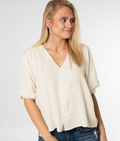 Fashion On Earth Textured Button Down Top