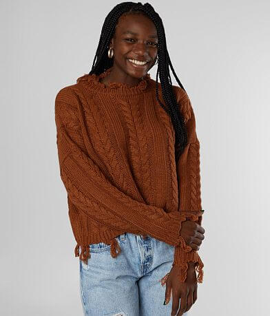 Fashion On Earth Destructed Cable Knit Sweater