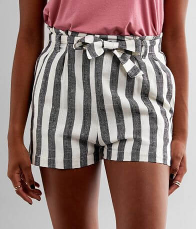 Fashion On Earth Striped Paperbag Short