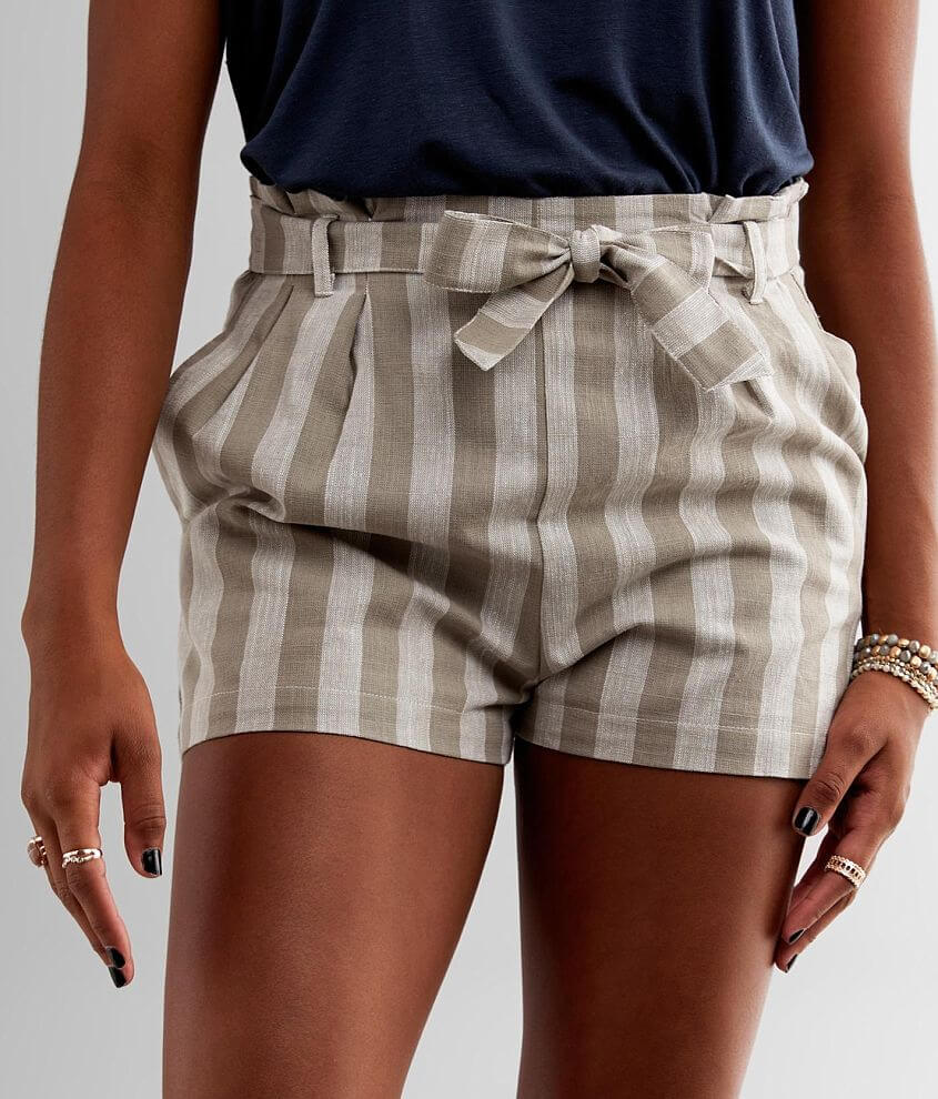 Fashion On Earth Striped Paperbag Short front view