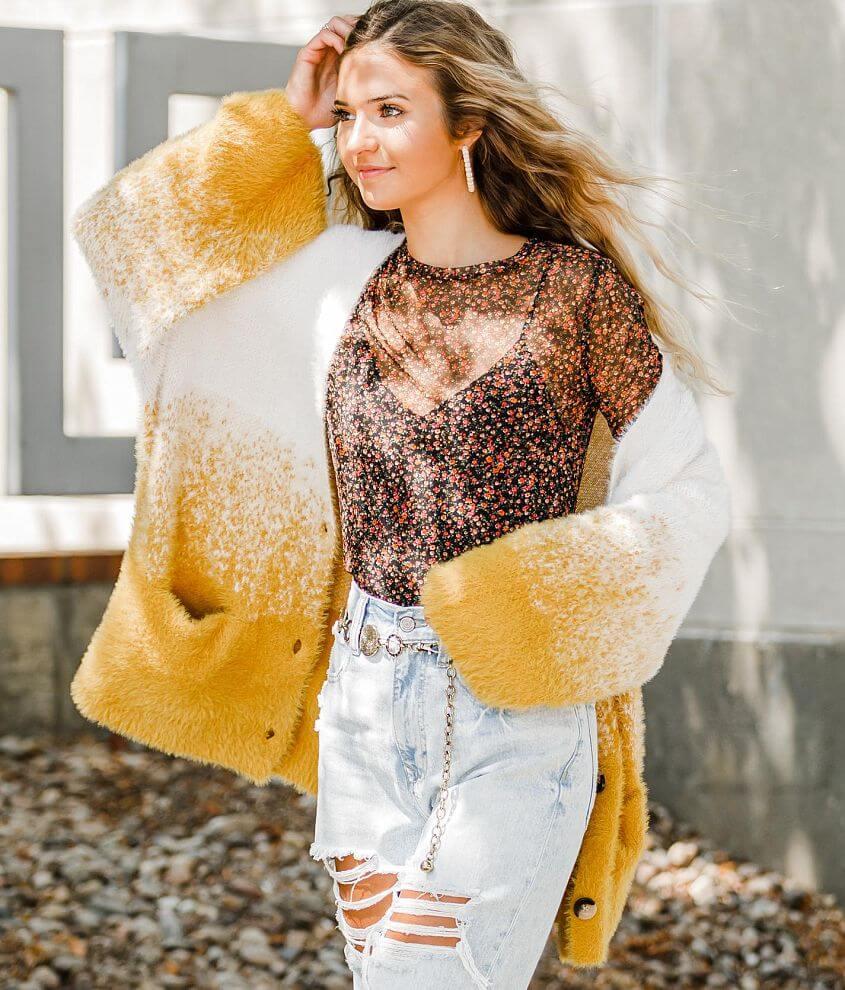 Hyfve Ombre Eyelash Cardigan Sweater front view