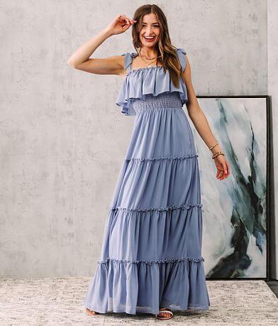 onetheland Chiffon Tiered Ruffle Maxi Dress