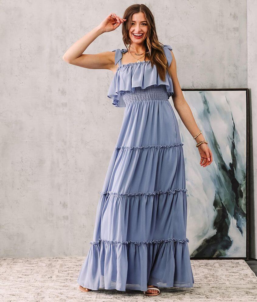 onetheland Chiffon Tiered Ruffle Maxi Dress front view