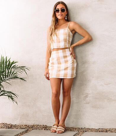 ontheland Gingham Mini Skirt