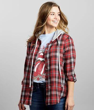 Hyfve Plaid Hooded Shirt