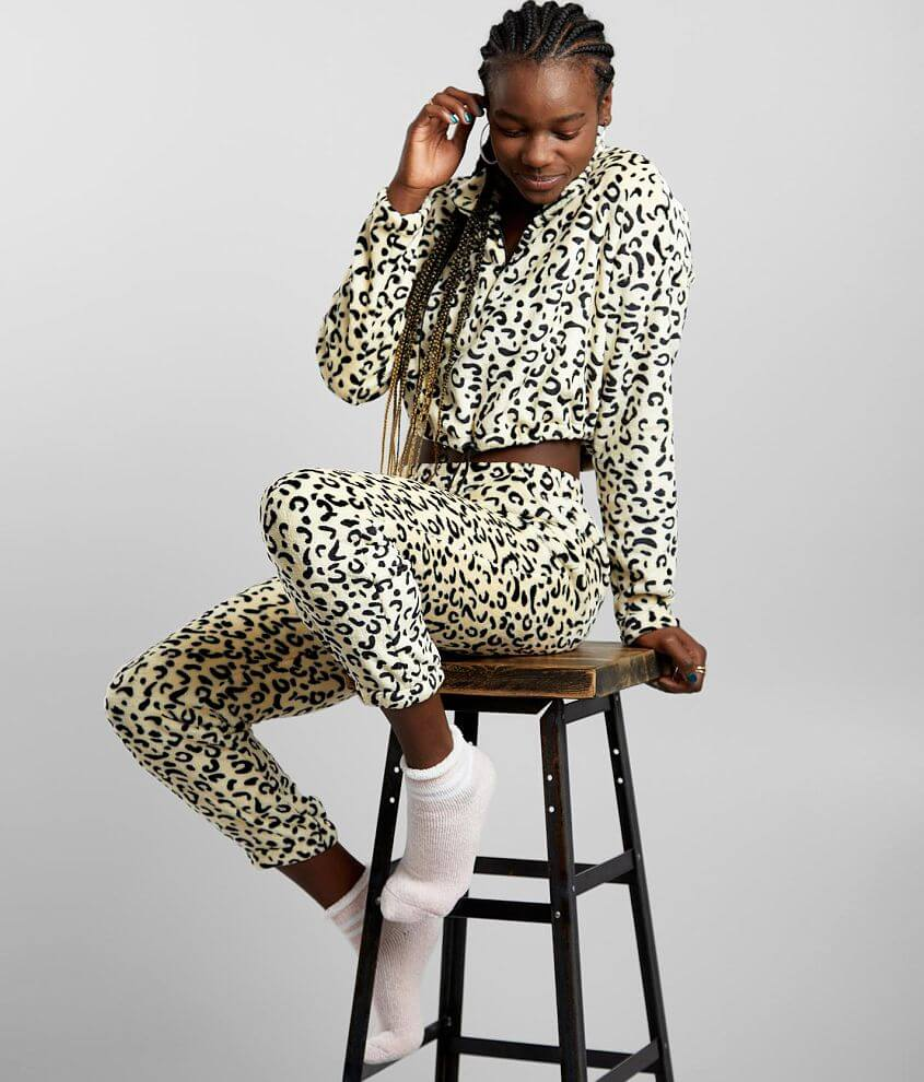 Hyfve Plush Animal Print Cropped Pullover front view