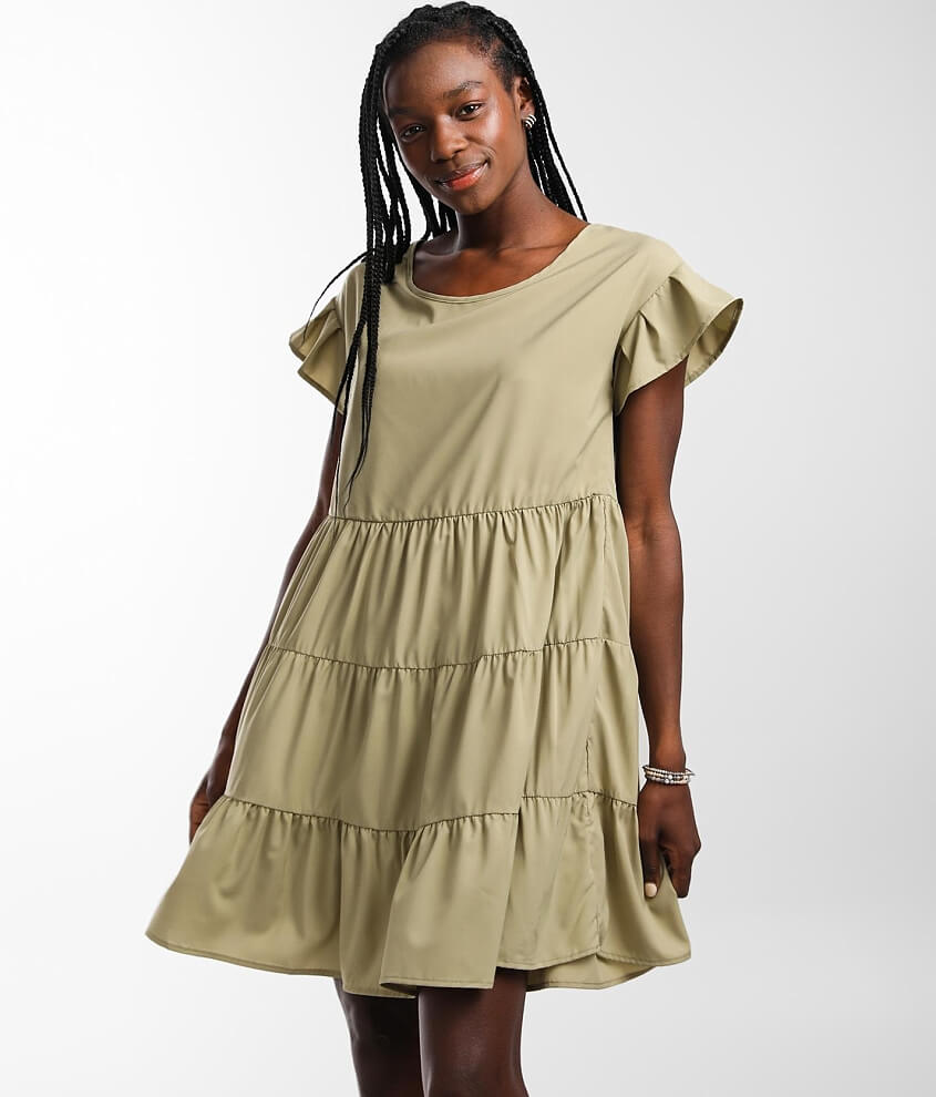 Hyfve Tiered Ruffle Babydoll Dress front view