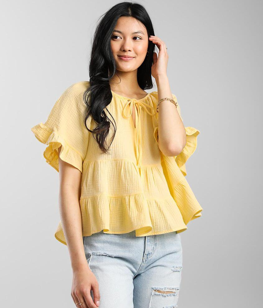 Hyfve Ruffle Babydoll Top front view
