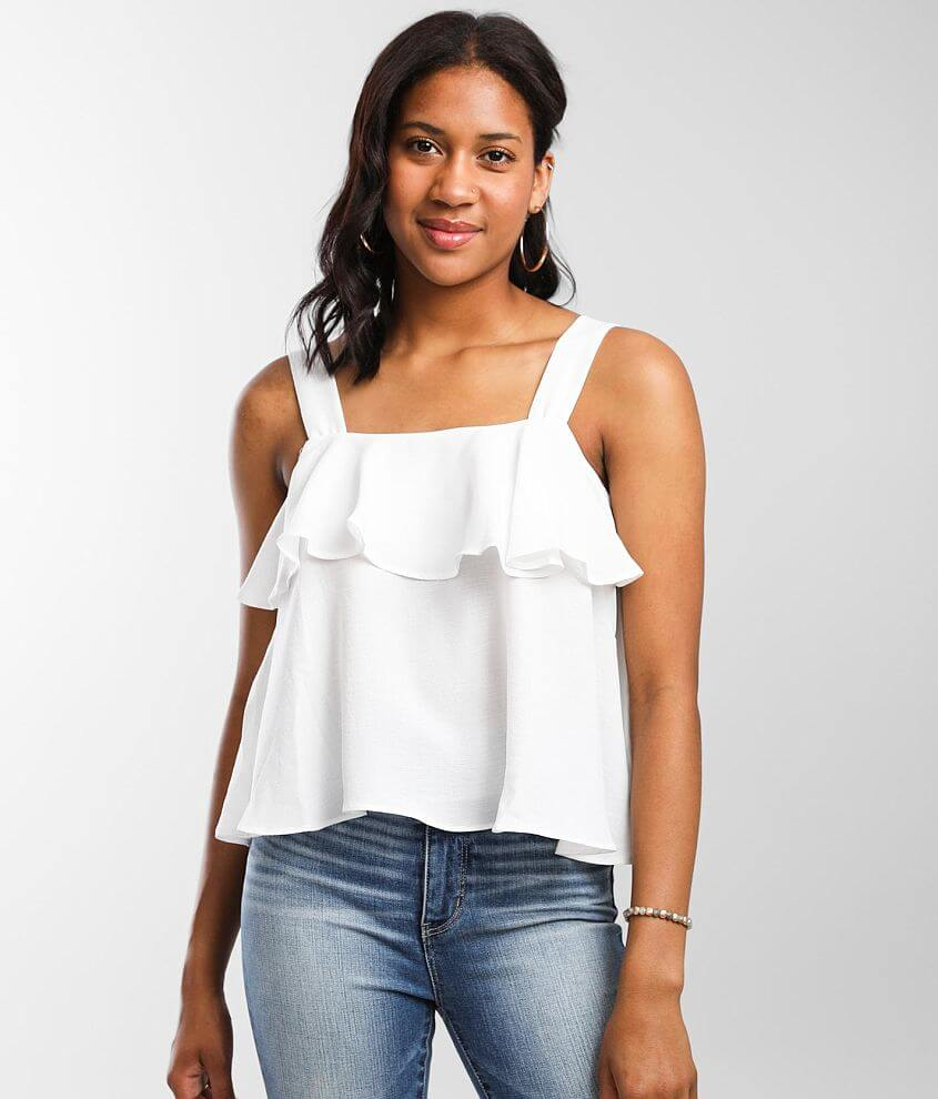Hyfve Ruffle Cropped Tank Top front view