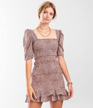 Hyfve Smocked Ruffle Chiffon Mini Dress