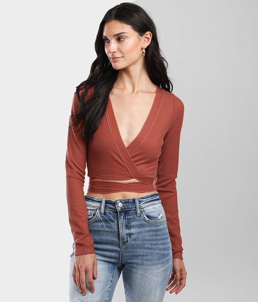 Hyfve Ribbed Wrap Tie Top front view