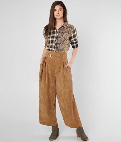 FAVLUX Corduroy Wide Leg Cropped Pant