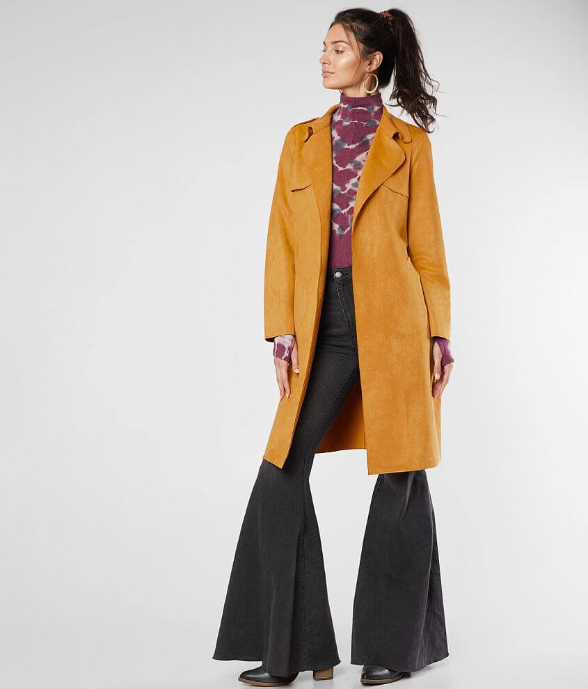 Hyfve Faux Suede Trench Jacket front view