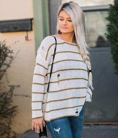 FAVLUX Striped Open Weave Sweater