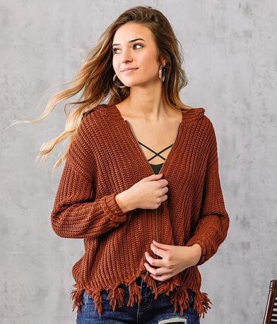 Purple Snow Frayed Hem Hooded Sweater