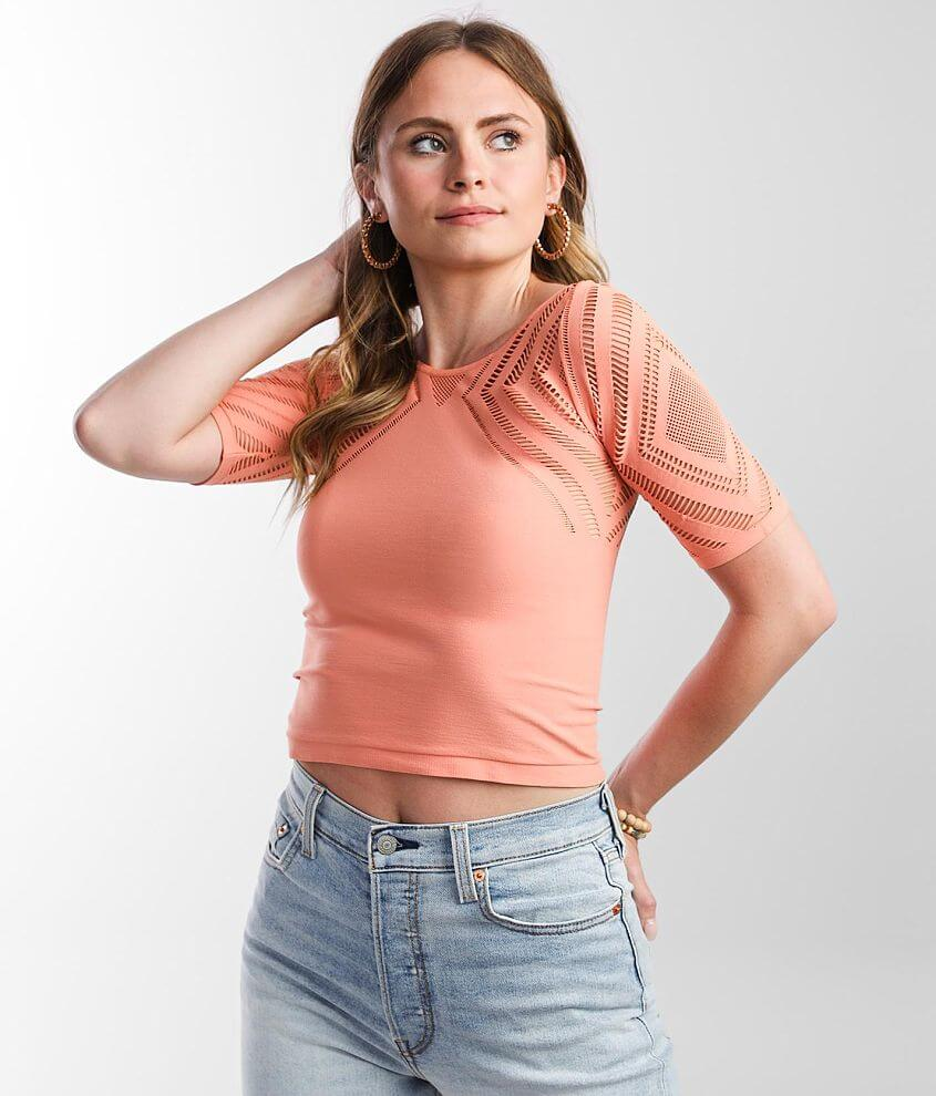 red by BKE Laser Cut Cropped Top front view