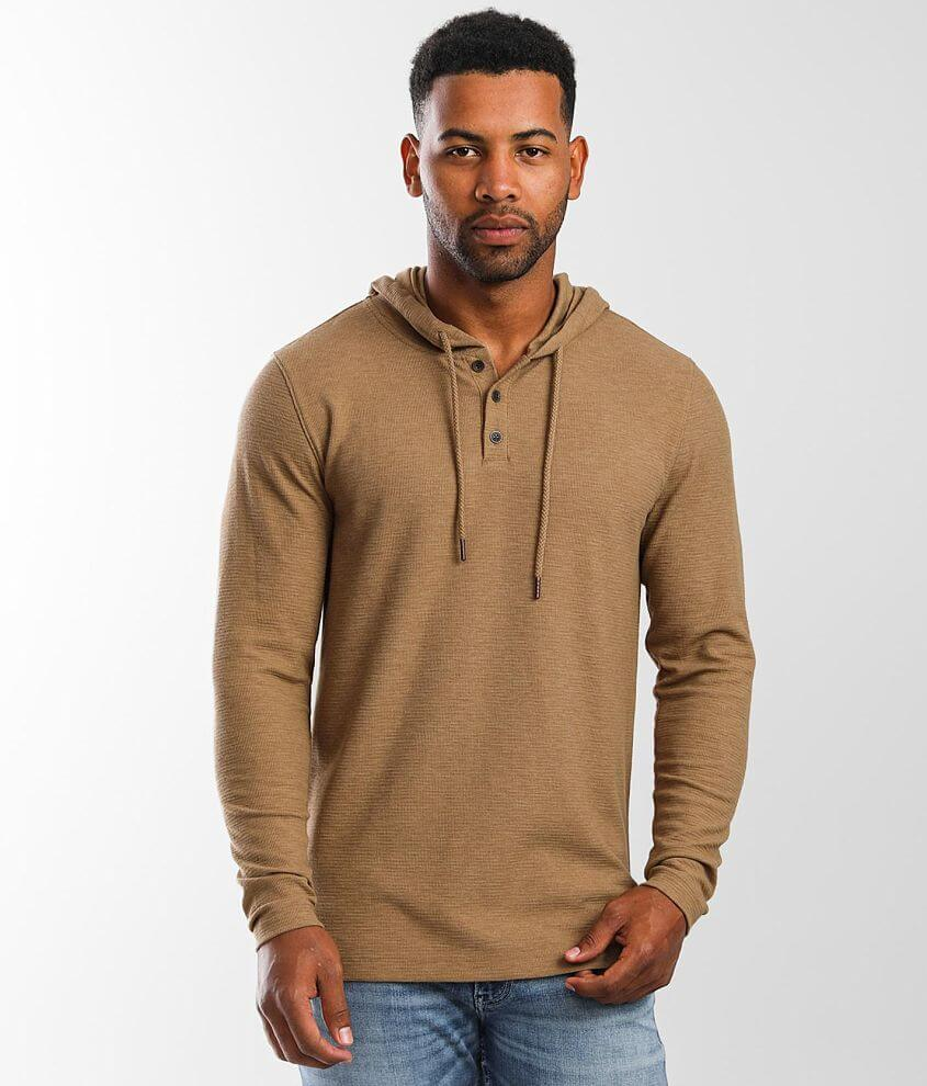 Outpost Makers Textured Knit Henley Hoodie front view