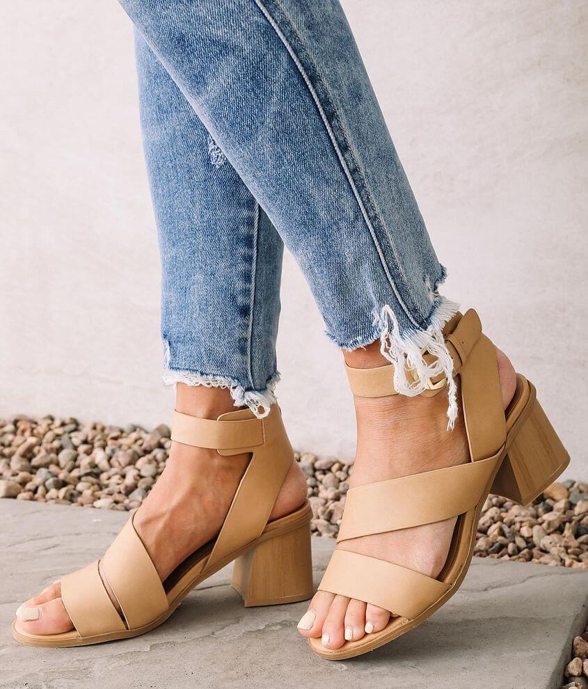 Qupid Bucky Heeled Sandal front view