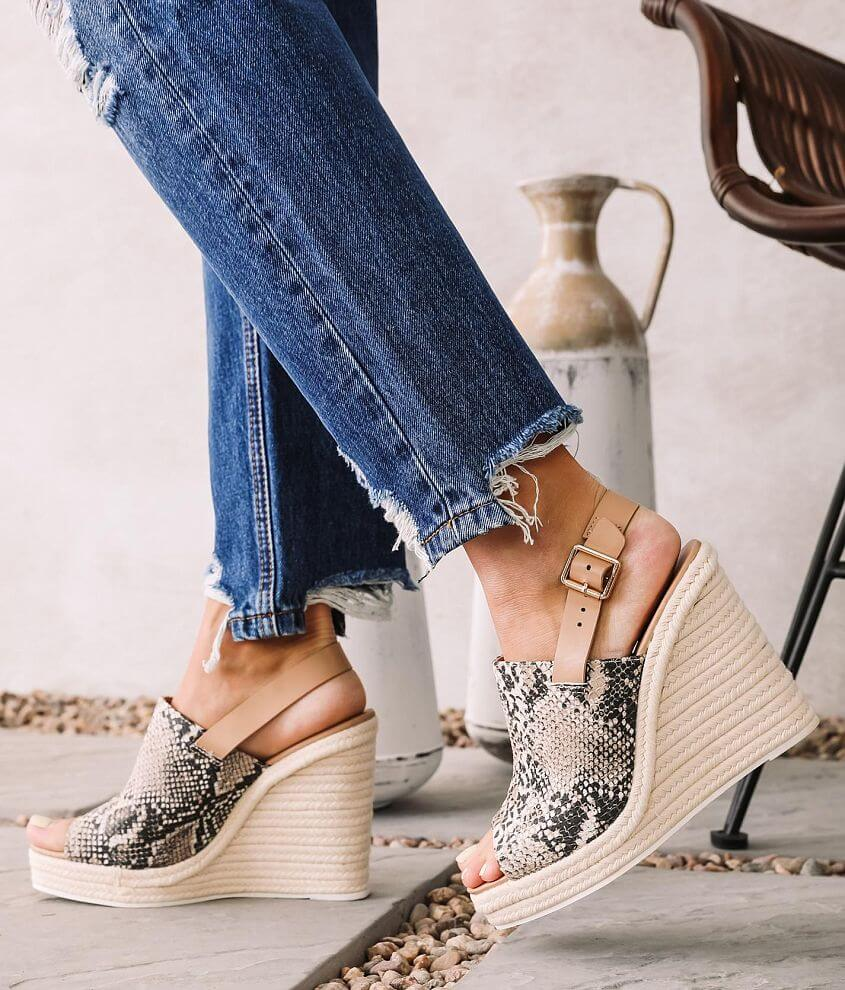 Qupid Cascade Espadrille Heeled Wedge Sandal front view