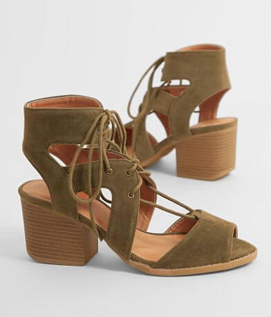 Qupid Lace-Up Heeled Sandal