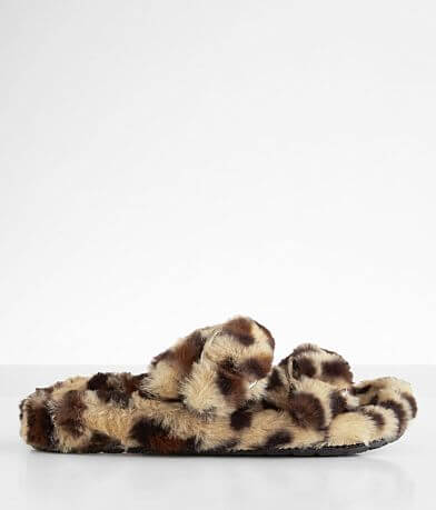 Qupid Eli Double Strap Cheetah Print Slipper