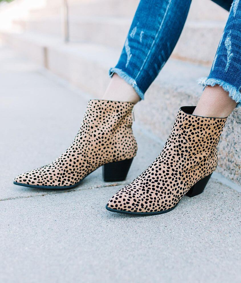 Qupid Mystique Cheetah Ankle Boot front view