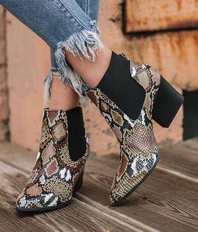 Qupid Nava Snake Print Ankle Boot