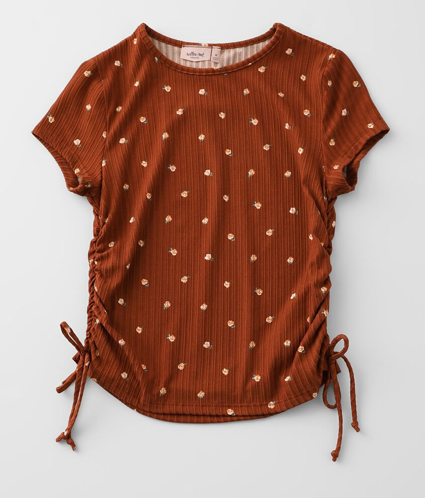 Girls - Willow & Root Ruched Side Seam Top front view