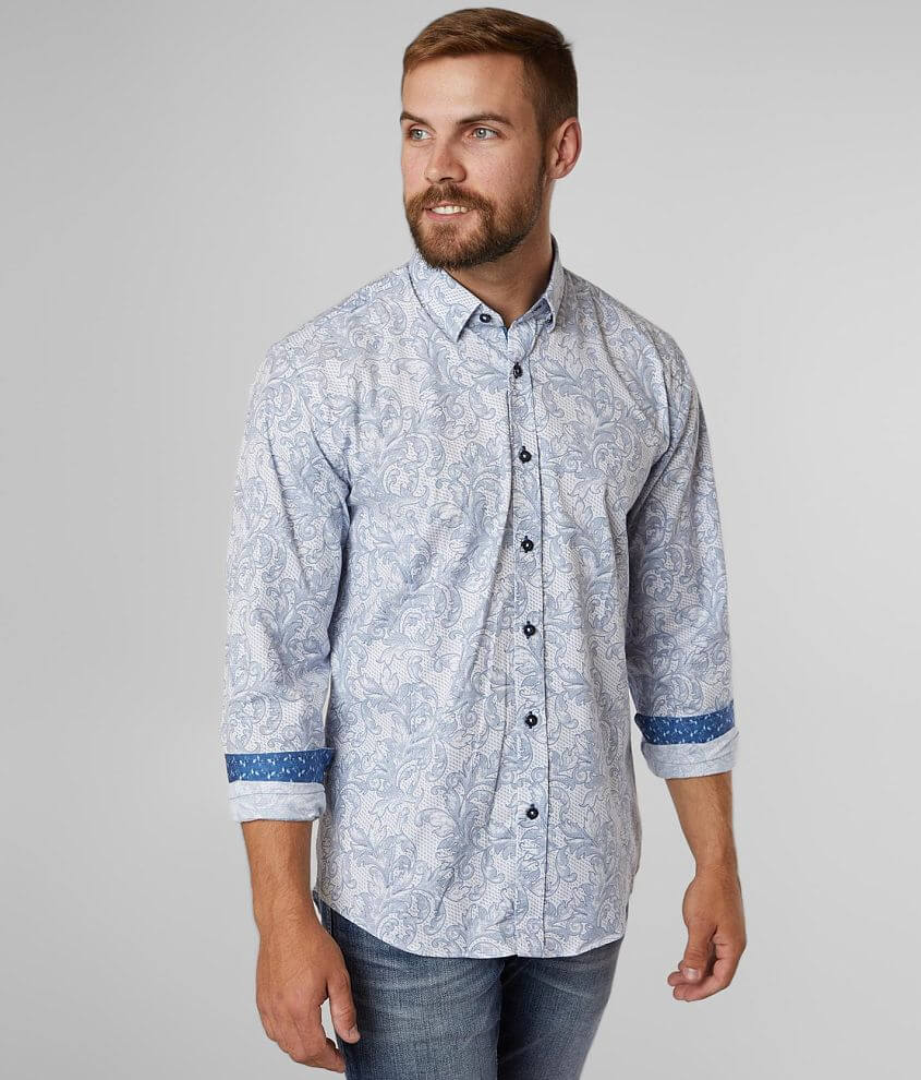 Eight X Textured Floral Stretch Shirt front view