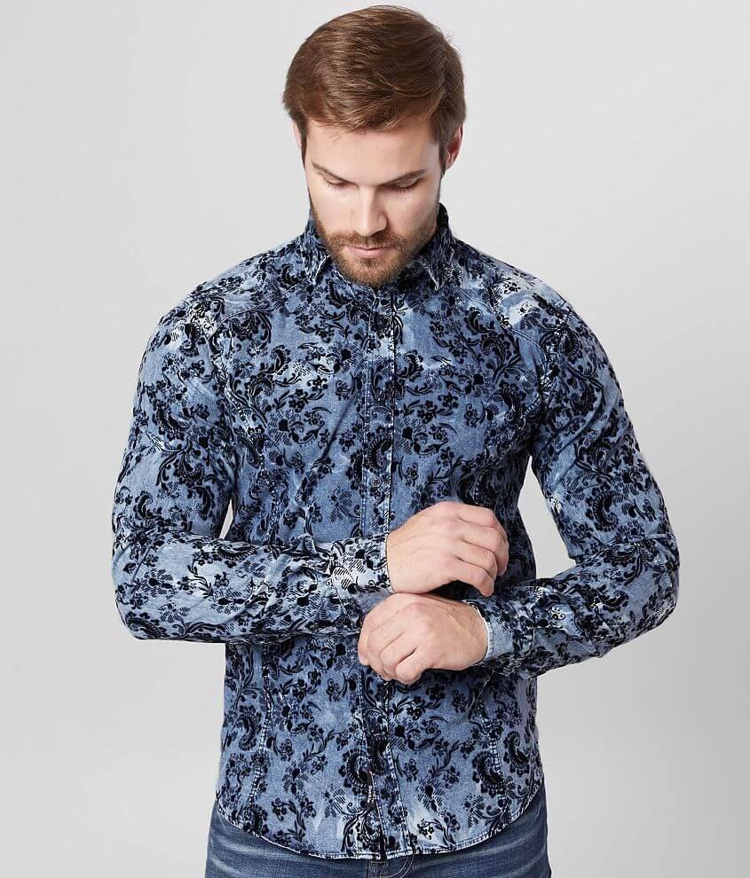 Eight X Flocked Paisley Chambray Shirt front view