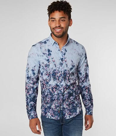 Eight X Floral Striped Stretch Shirt