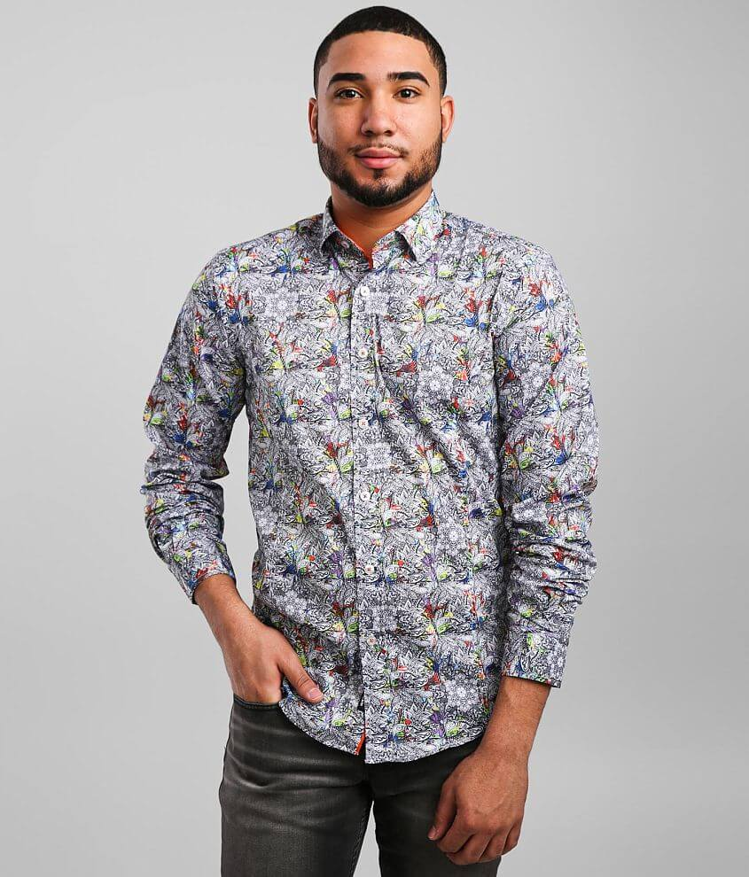 Eight X Floral Color Drop Stretch Shirt front view
