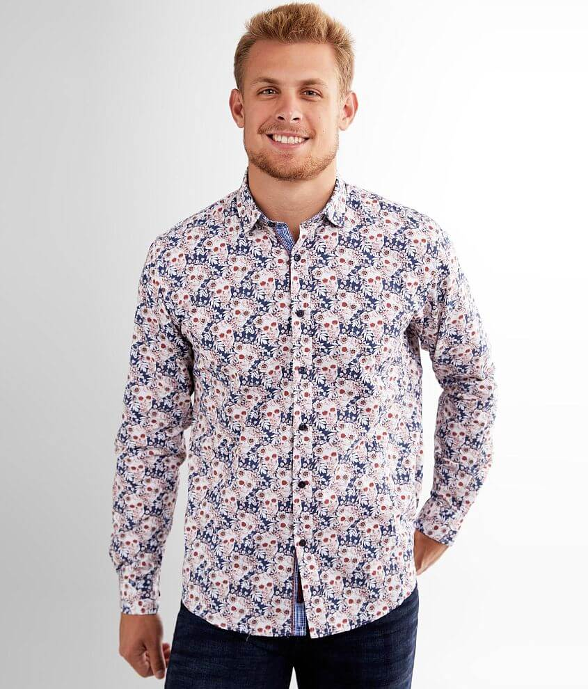 Eight X Floral Skull Shirt front view