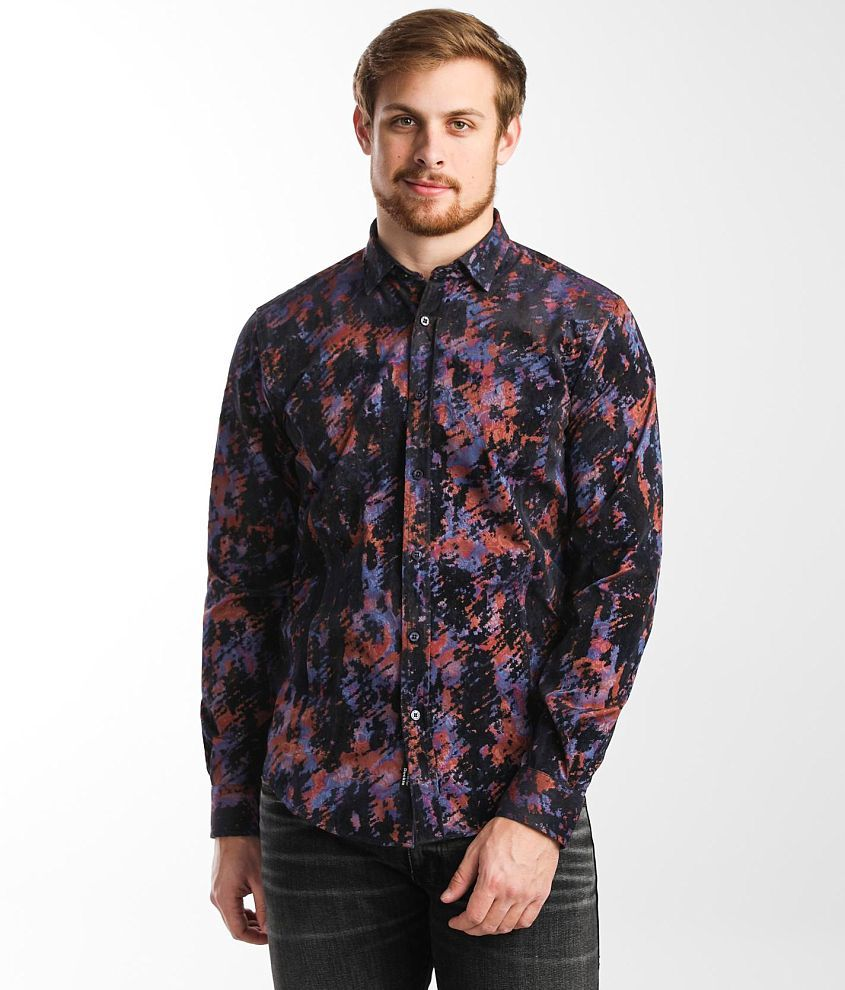Eight X Flocked Paisley Print Shirt front view