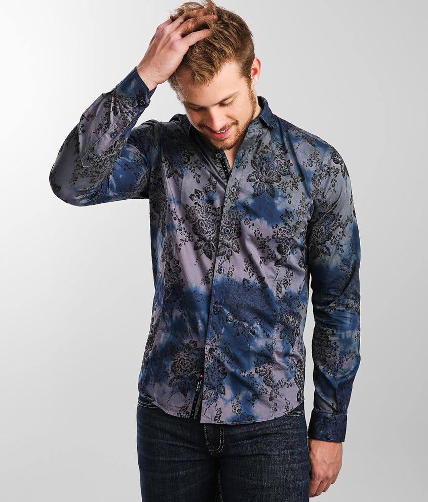 Eight X Flocked Floral Print Woven Shirt front view