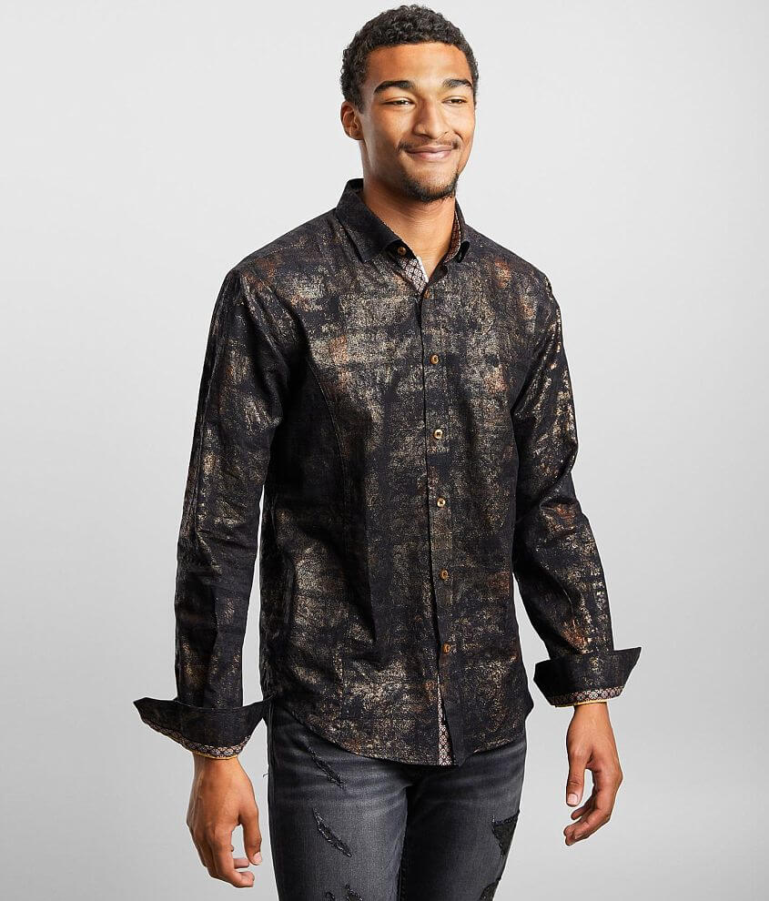 Eight X Woven Metallic Shirt front view