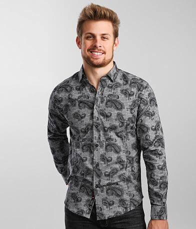 Eight X Flocked Polka Dot Paisley Woven Shirt