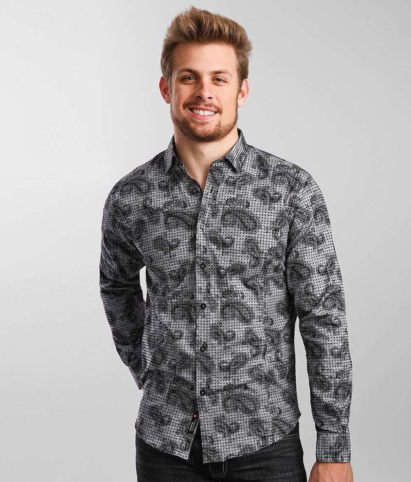 Eight X Flocked Polka Dot Paisley Woven Shirt front view