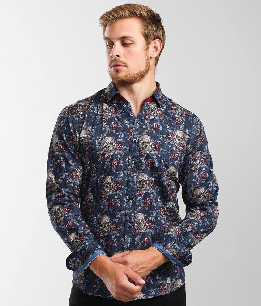 Eight X Premium Floral Skull Print Shirt front view