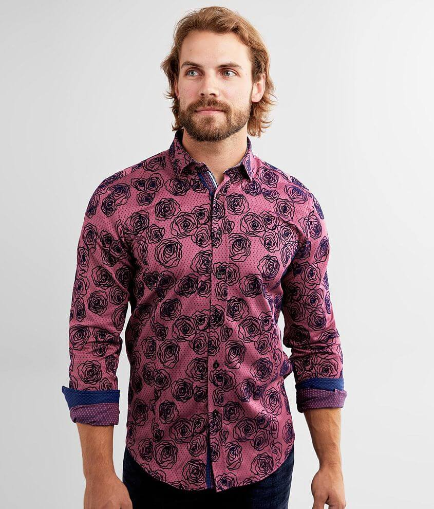 Eight X Flocked Rose Shirt front view
