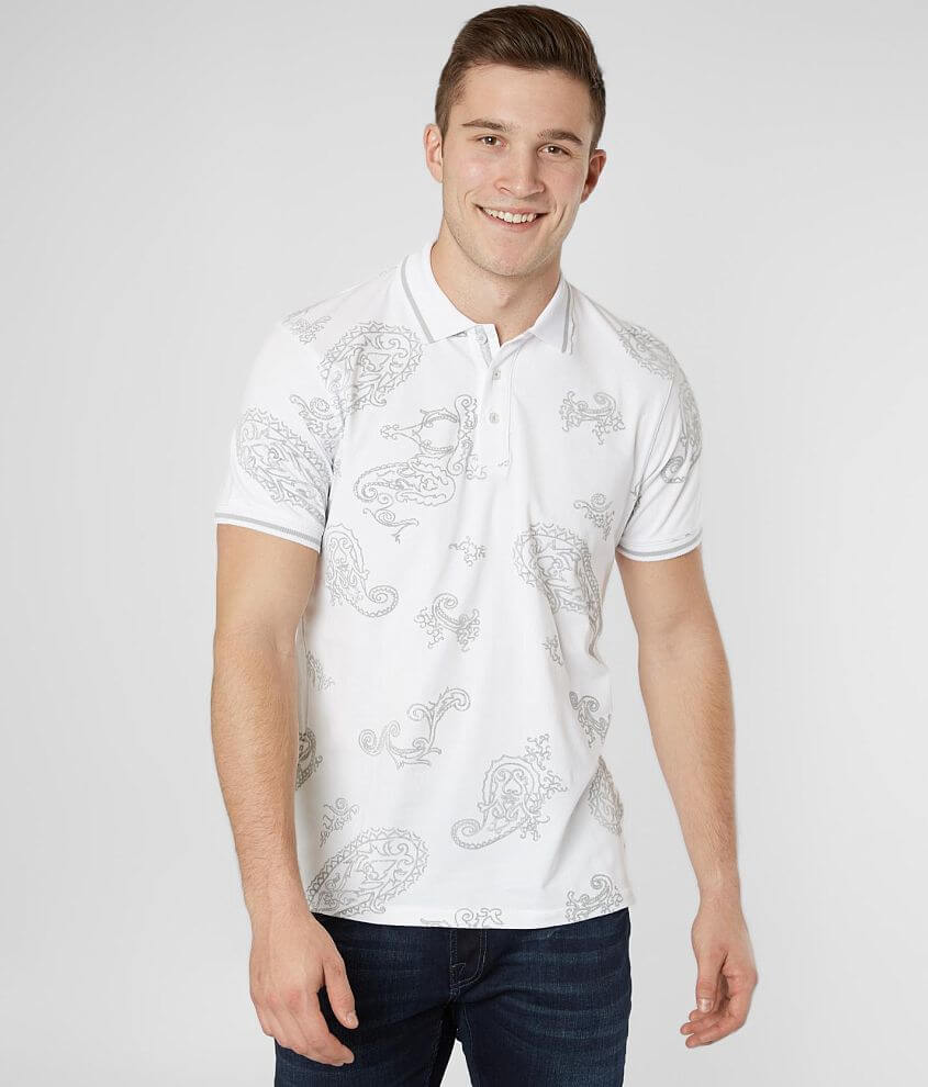 Eight X Flocked Stretch Polo front view