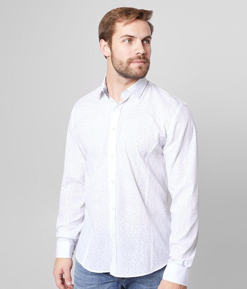 Eight X Woven Textured Geo Shirt front view