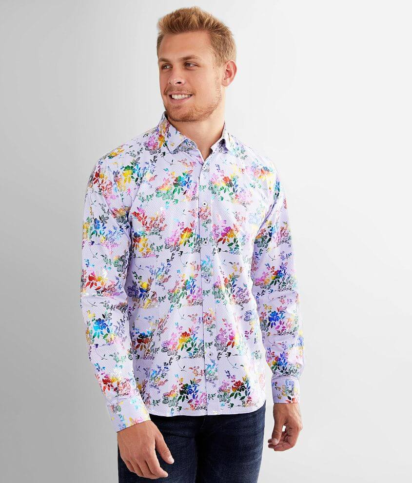 Eight X Foiled Rainbow Floral Shirt front view