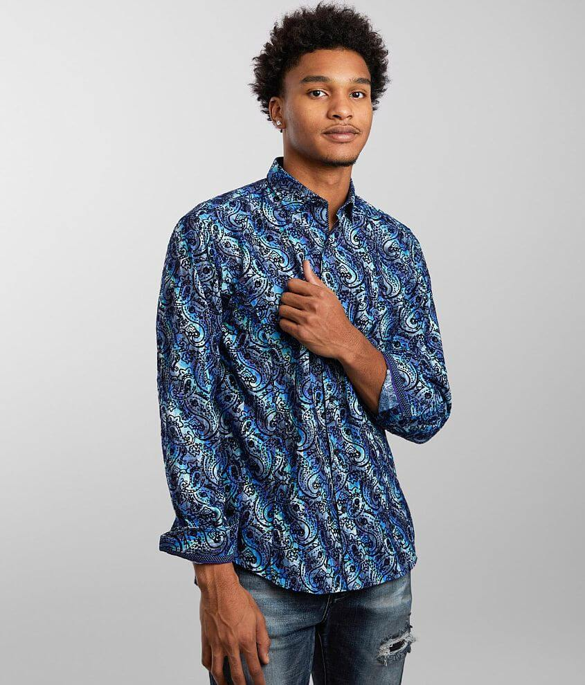Eight X Flocked Paisley Shirt front view
