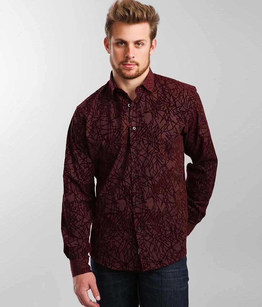 Eight X Flocked All Over Woven Shirt front view
