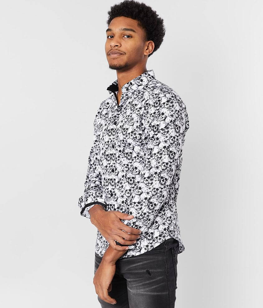 Eight X Skull & Flower Printed Shirt front view